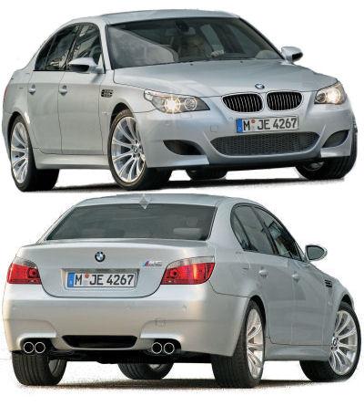 Présentation de la sportive BMW M5 de 2005.